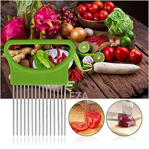 Onion Holder Slicer,Stainless Steel Onion Slicer for Potato Fruit Tomato Slicer Vegetable Slicer Kitchen Cooking Aid Gadge Tool Cutting Chopper (Gleen)