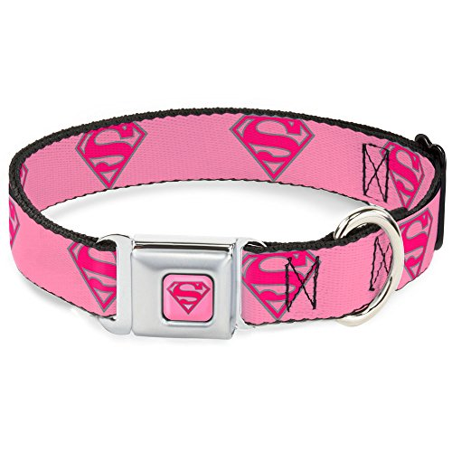 "Buckle-Down 18-32"" Superman Shield Pink Dog Collar, Wide Large"