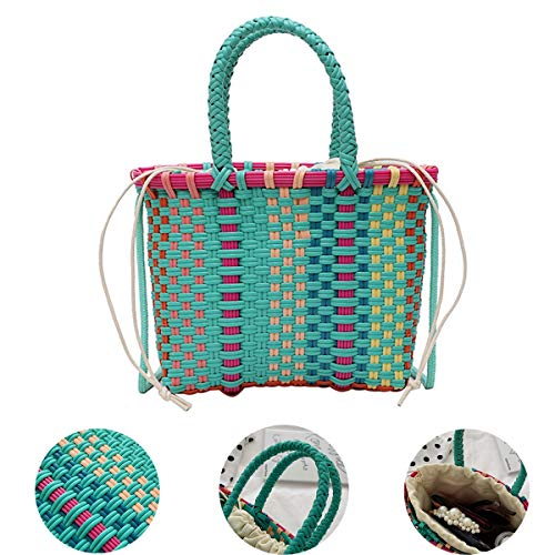 Handmade Beach Weave Handbags for Women, Drawstring Bucket Tote Bags, Rope Shoulder Strap, Ladies Small Size Purse, Makeup Satchel Pouch