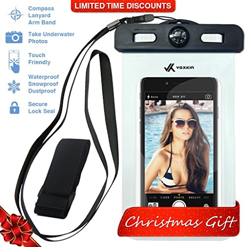 ⚡ Voxkin PREMIUM QUALITY Universal Waterproof Case including ARMBAND ✚ COMPASS ✚ LANYARD - Best Water Proof, Dustproof, Snowproof Bag for iPhone 6S, 6, 6 Plus, 5, Galaxy S6 S5 Note 4 or Any Phone