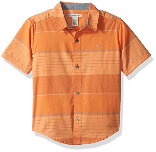Calvin Klein Boys' Big Blocked Horizontal Stripe Short Sleeve Shirt, Orange, Medium (10/12) (Stripe Shirt Orange)