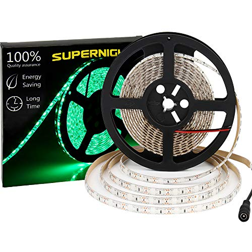 (600 LEDS Light Strip Waterproof, SUPERNIGHT 16.4FT Green LED Rope Lighting Flexible Tape Decorate for Bedroom Boat Car TV backlighting Holidays Party)