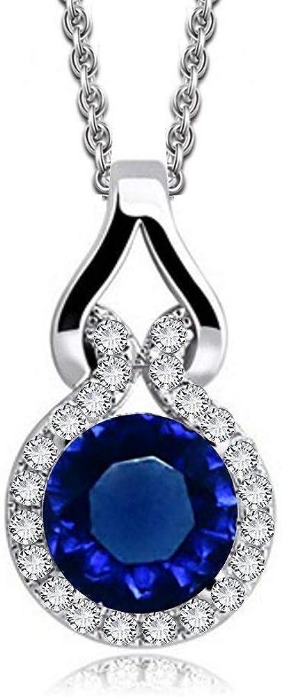 Collar con colgante con Redondo Zafiro simulado azul Cristales austríacos de Zirconia 18k Chapado en oro blanco para mujer 45 cm