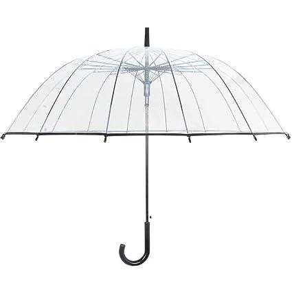 Umbrella Paraguas Transparente, Mango Largo pequeño Estudiante Fresco Paraguas Doble Grande Paraguas de Viaje Retro