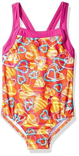 Speedo Girls One Piece Sporty Swimsuit Hearts (12)