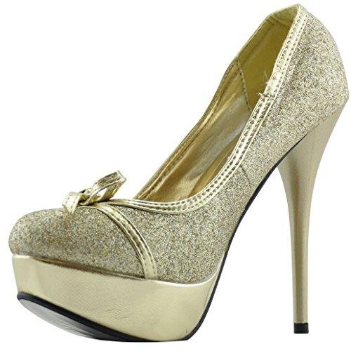 Muse High Heel Court High Heel Shoe Abendschuh Brautschuh Stiletto Heel Gold - gold
