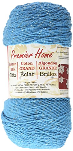 Premier Yarns Home Cotton Glitz Yarn, Turquoise Gold