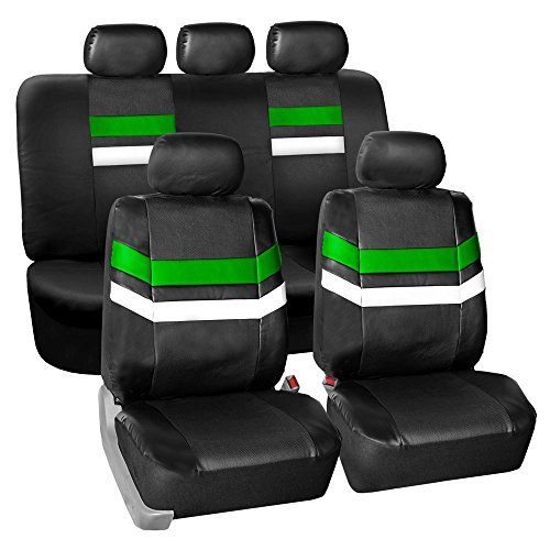 - YEAR END SALE: FH GROUP PU006115 Varsity Spirit PU Leather Seat Covers, Airbag & Split Ready, Green / Black Color