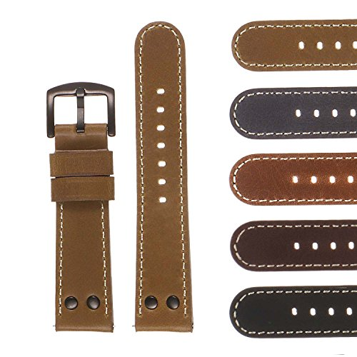 DASSARI Quick Release Vintage Leather Pilot Watch Band Strap with Matte Black Rivets and Buckle 18mm 20mm 22mm 24mm ()