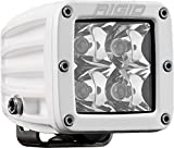Rigid Industries 601213 D-Series Pro Spot Light; Surface Mount; Hybrid; 4 White LEDs; White Rectangular Housing; Single;
