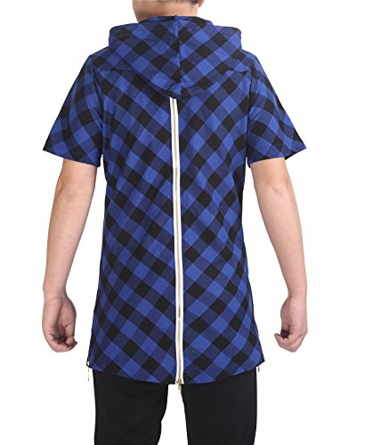 Pizoff Unisex Hipster Paisley Print Hoodie Zip up Extra Long T-shirts (XL ( Size US L ), P3123-blue)