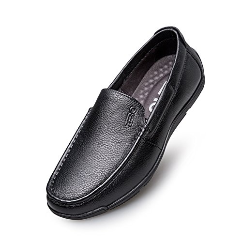 Hommes Cuir Zro Slip on Mode Casual Lisse Noir Chaussures qw41t4nH