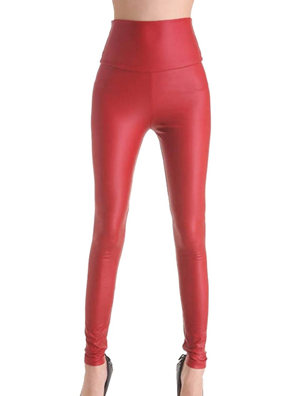 Gladiolus Mujeres Pu Cuero Leggings Skinny Elasticos Treggings Pantalones Cintura Alta Leggins Pantalon Fundaciointermedia Org