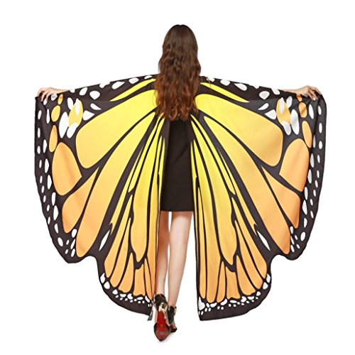 VESNIBA Christmas Party/Thanksgiving Day Prop Soft Fabric Butterfly Wings Shawl Fairy Ladies Nymph Pixie Costume Accessory (168X135CM, B-Orange)]()