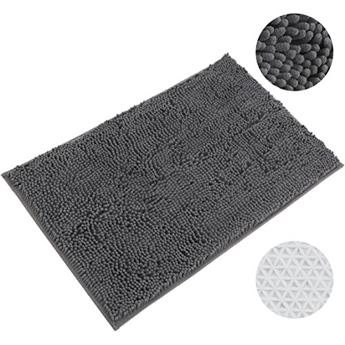 20x32 Thick Microfiber Bath Rugs Chenille Floor Mats, Machine Washable Bathroom Carpet Absorbent Bathroom Area Rugs, Gray (Bath Rug Changes Color)