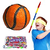 Pinatas Basketball Pinata Kit, 2 lb. Candy Filler, Buster Stick and Bandana