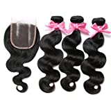 """Free Queen 6A Brazilian Virgin Hair 3 Bundles with Closure 100% Unprocessed Human Hair Weave With Lace Closure (10"""" 10"""" 10""""+10""""closure, Free Part) offers"""