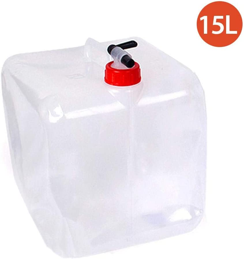 Ksruee Contenedor de Agua Plegable de 15L con espita, Libre de BPA, Almacenamiento de Agua para Acampar, Jarra, cubeta, cantimploras de Agua para Acampar al Aire Libre, Camping, cantimplora portátil