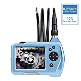 Industrial Endoscope, Depstech 3.5 Inch LCD Color Screen Borescope Semi Rigid Cable Inspection Snake Camera with 10FT Tube, Function of Zoom, 360 Degree Rotation and DVR Digital Video Recording