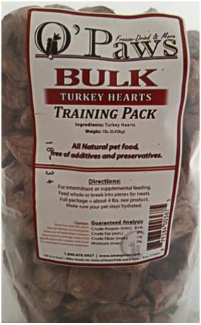 Turkey Hearts – 1 lb. bulk package by O Paws