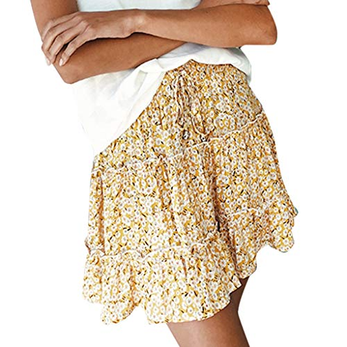 ANJUNIE Women Mini Skirt Summer Casual Bohe High Waist Ruffled Floral Print Beach Short Skirt (Gold,XXL) ()