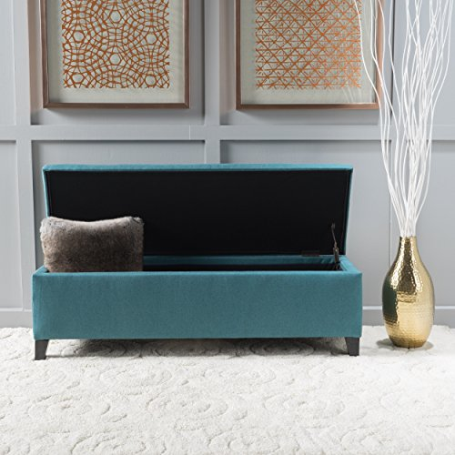 Contemporary Cleo Fabric Storage Ottoman Bench by Christopher Knight Home Polyester Fabric Birch Wood Dark Brown Finish (Teal) For Sale