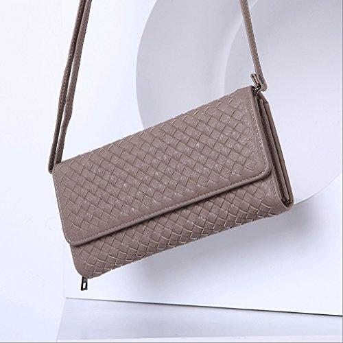 Handbag Nuevo Bolso de Moda, Bandolera Diagonal, Bolsa de Mensajero de Señora, Embrague de Cremallera, Billetera Larga Tejida a Mano. A+ (Color : Pale Pinkish Gray) Pale Pinkish Gray