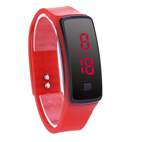 - Demiawaking - Reloj de muñeca digital unisex con luz LED incorporada rojo: Amazon.es: Relojes