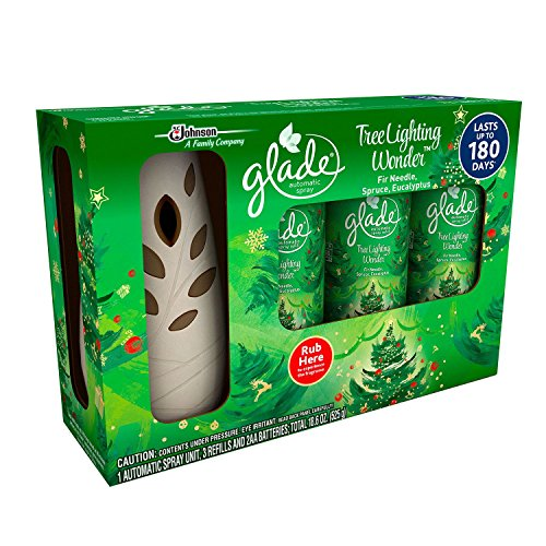 Glade Automatic Spray Starter Set, Tree Lighting Wonder, 3 Refills + 1 Sprayer