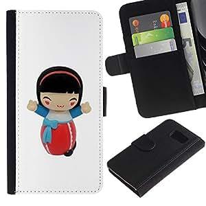 Estuche de Cuero Billetera del tirón Tarjeta de la Bolsa Titular de Suave Caso para Samsung Galaxy S6 SM-G920 / CECELL Phone case / / Cartoon Girl Character Figurine /