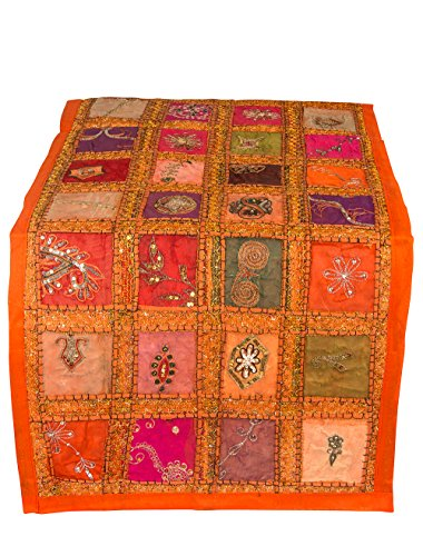 Tribe Azure Fair Trade Orange Table Runner Cotton 18