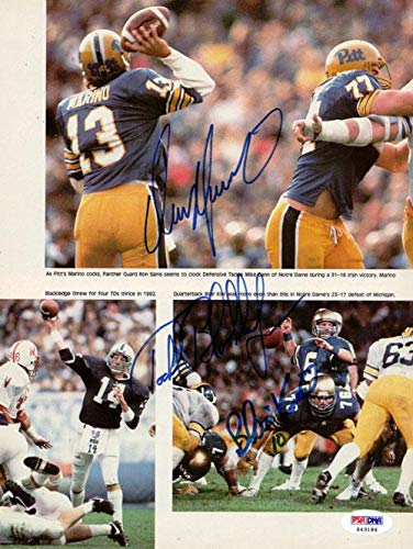 Dan Marino, Todd Blackledge & Blair Kiel Autographed Magazine Page Photo #S43186 PSA/DNA Certified