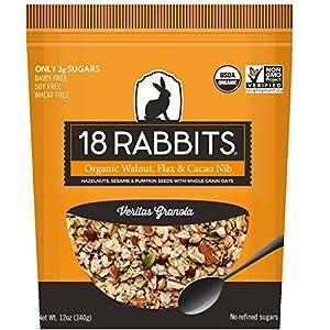 18 Rabbits Organic Veritas Granola, Walnuts, Flax & Cacao Nibs, 12 Ounce bag