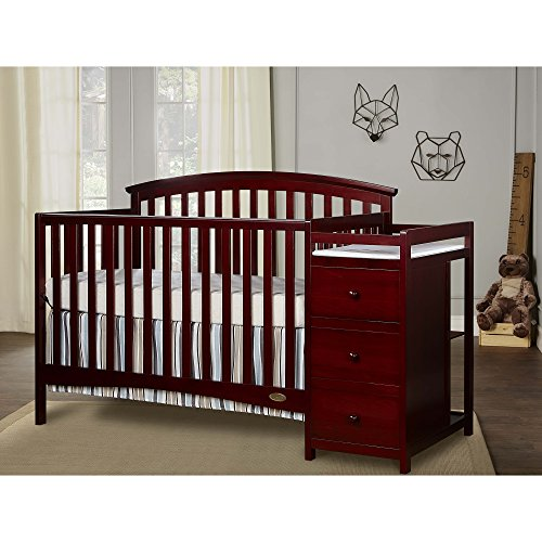 Dream On Me Niko 5-in-1 Convertible Crib with Changer, Cherry by Dream On Me (Image #1)