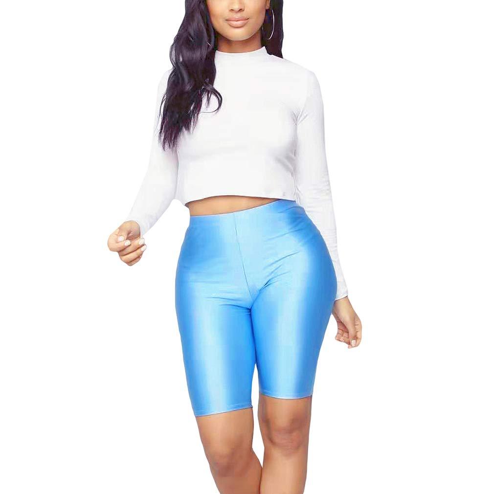 Pantaloncini Bici da Donna Vita Alta Slim Leggings 1//2 Pantaloni Corto Colore Solido Pantaloncino da Yoga Jogging Fitness 10 Colori