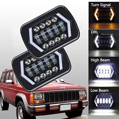 BAOLICY 7x6 Led Headlights,H6054 Led Headlights,5 7 Led Headlight with Arrow Angel Eyes DRL Turn Signal Light Fog Lights Replaces H6054 H5054 H6054LL 69822 Fit Trucks Jeep Wrangler XJ YJ ()
