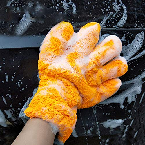 YUSHHO56T Coral Fleece Car Washing Glove Car Cleaning And Maintenance Glove Soft Coral Fleece Double Sided Car Care Washing Cleaning Glove Brush Accessories - Orange+Grey