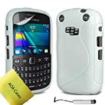 AOA Cases® S-Series Tpu Case Back Cover For Blackberry Curve 9320 9220 + Mini Stylus + Screen protector (White)