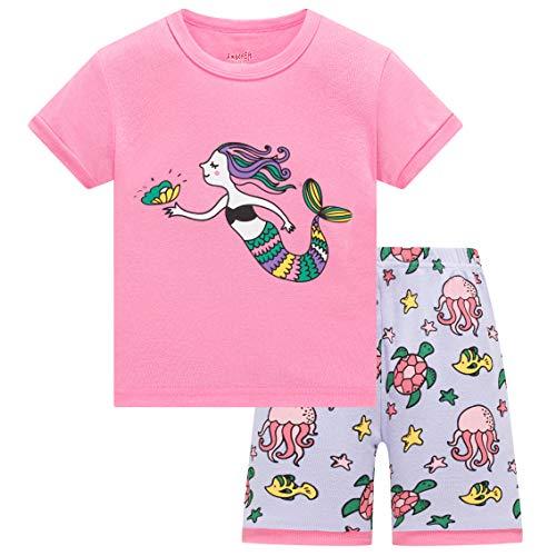 Girls Pajamas 3T Kids Cotton Shorts Mermaid PJs Summer Clothes Toddler Sleepwear -
