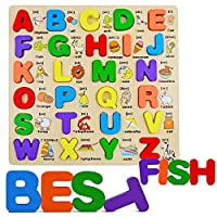 Wooden Capital Alphabet Puzzle, Kids Early Education Upper Case Letters Block Board Chunky Puzzles for Preschool & Kindergarten Toddlers Toys