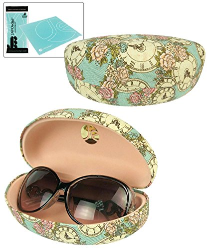 JAVOedge Clock Printed Pattern Hard Clamshell Sunglass Case Plus Bonus Cleaning Cloth
