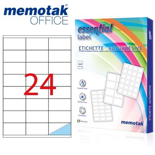 Scatola da 100 fogli A4 Etichette adesive Memotak formato in millimetri 47.5 x 25.5 4400 etichette per scatola