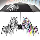Hometom Umbrella, Color Changing Zebra Windproof Travel Umbrella Sunshade Anti UV Rain Umbrellas (Black)