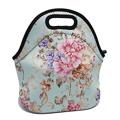 Artone Garden Flowers Insulated Gourmet Lunch Bag Waterproof Neoprene Lunchbox Container Case Blue