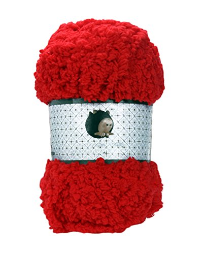 - Baby Warm Soft Chenille Knitting Yarn Ball Wool Craft for Towel Coat Sweater DIY Tool (Red)