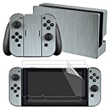 eXtremeRate Full Set Faceplate Skin Decal Stickers for Nintendo Switch with 2Pcs Screen Protector (Console & Joy-con & Dock & Grip) – Steel Texture Review