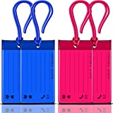 Luggage Tags, KSEV 4 Packs Travel Tags [Flexible Jelly | Bendable] ID Labels, Name Card Holder for Baggage Bags Suitcases Backpacks (Blue / Magenta)