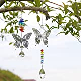 H&D 2pcs Handmade Butterfly Crystal Prism Rainbow Maker with Multi-Color Beads Hanging Suncatcher Ornament