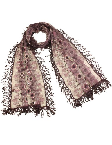 Beaded Scarf Pattern - Embroidered Lace Geometric & Flower Patterns Beaded Sequins Scarf - Plum Violet