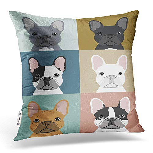 Emvency Throw Pillow Covers Cute Funny Various French Bulldog Animal Rainbow Pillowcases Polyester 16 X 16 Inch Square with Hidden Zipper Home Sofa Cushion Decorative Pillowcase - French Bulldog Silhouette